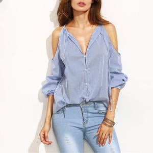 Sexy Deep V Neck Stripe Blouse