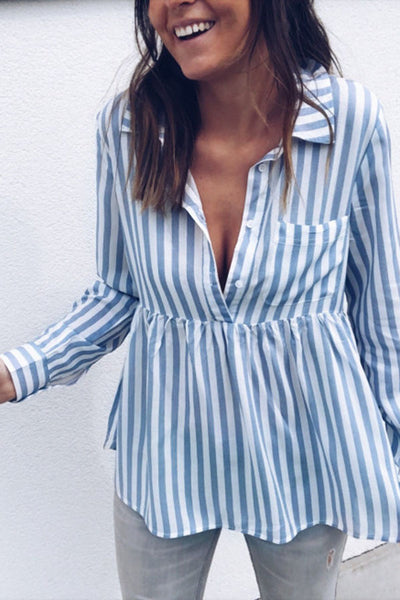Sexy Long Sleeves Stripe Blouses