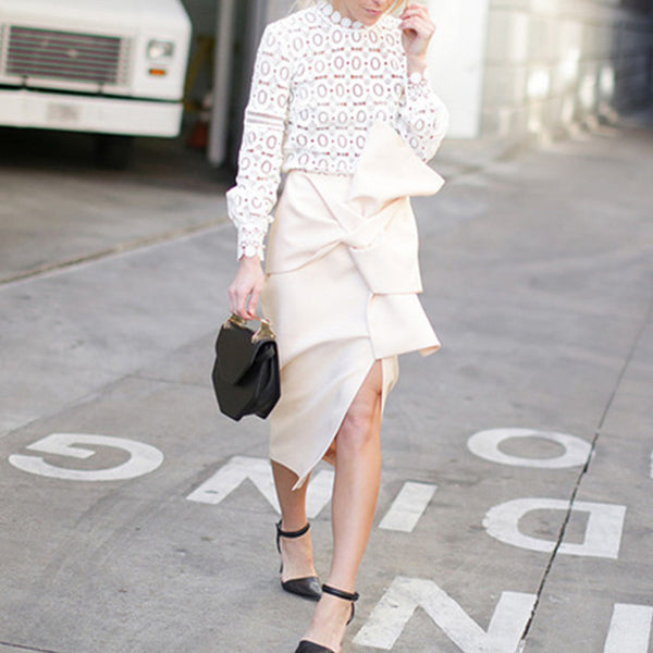 Lace Hollow Out Plain Elegant Blouse