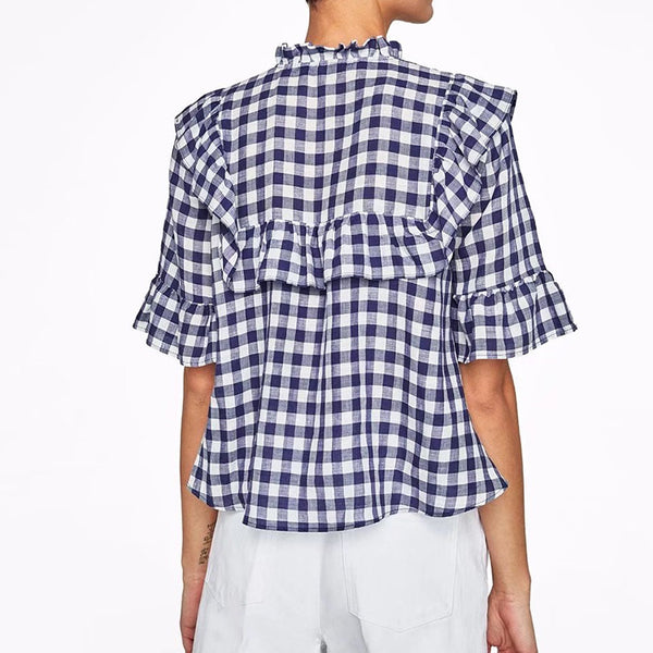 Black And White Short-Sleeved Plaid Blouse