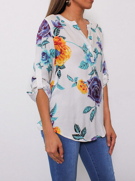 V-Neck Asymmetric Hem Floral Printed Roll-Up Sleeve Half Sleeve Blouses