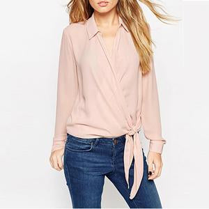 Fold Over Collar Patchwork Plain Blouses