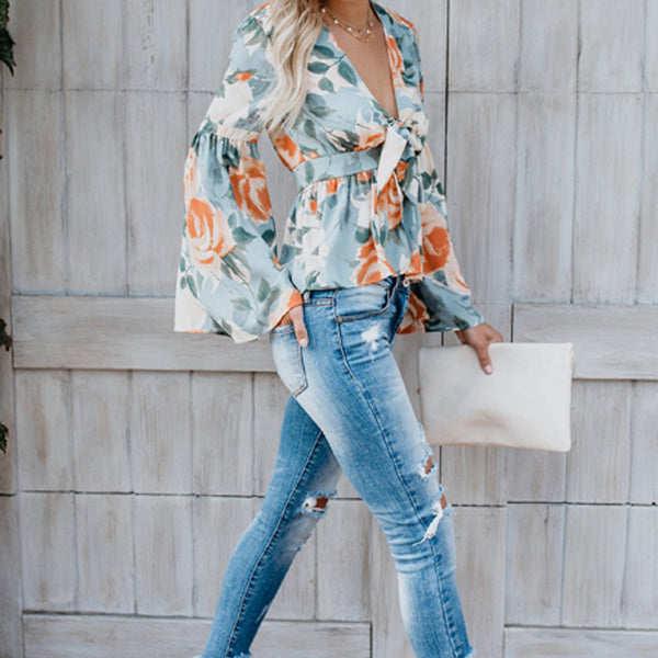 Deep V Collar Floral Lace Blouse