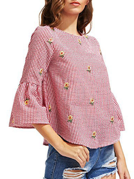 Round Neck Asymmetric Hem Plaid Bell Sleeve Three-Quarter Sleeve Blouses