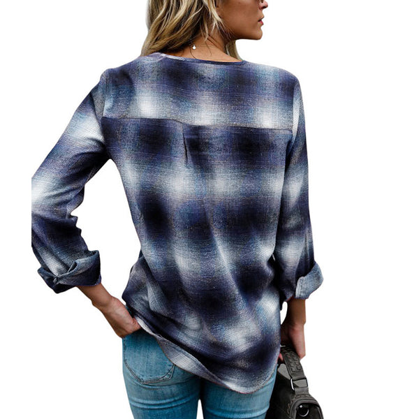 V Neck Long Sleeve Blouses