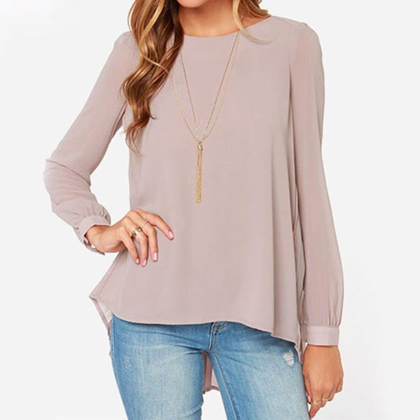 Chiffon Blouse Pleated Back Asymmetric Oversized Blouses