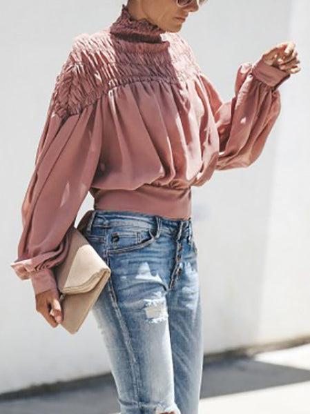 Solid Color Turtleneck Pleated Lantern Long Sleeve Loose Blouses