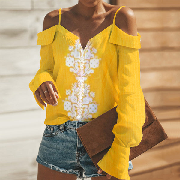 Sexy Yellow Long Sleeves Off Shoulder Blouses