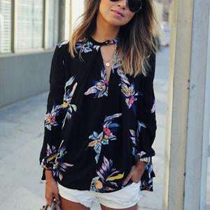 Hollow Out V Neck Floral Printed Long Sleeve Blouse