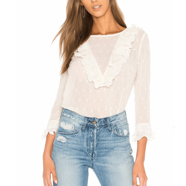 Fashion Round Neck Ruffle Sleeve Elegant Blouse