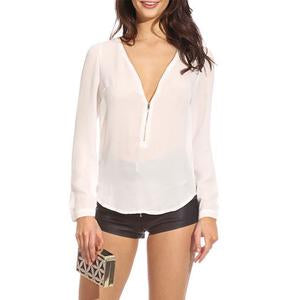 Deep V Neck Zipper Plain Blouses