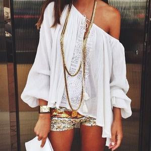 One Shoulder White Plain Long Lantern Sleeve Blouse