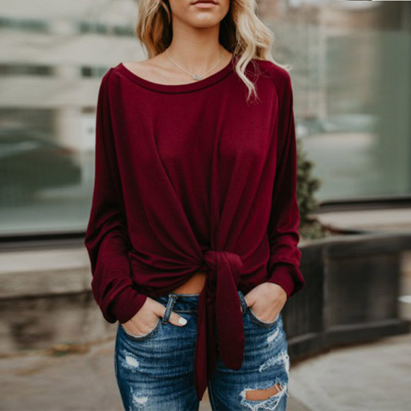 Round Neck Long Sleeve Blouses