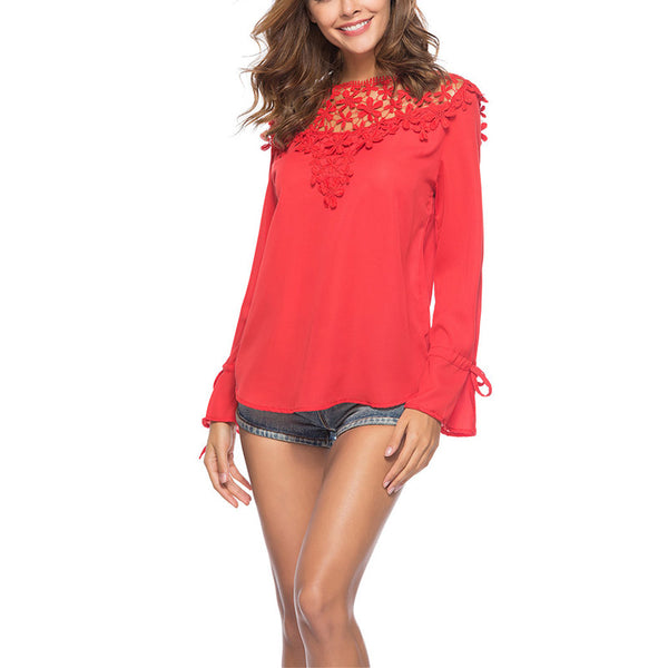 Hollow Out Long Sleeve Plain Blouses