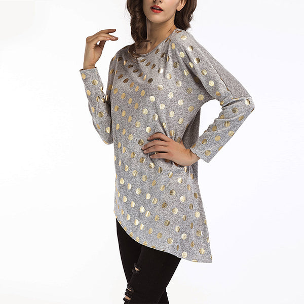 Round Neck Dot Printed Long Sleeve Blouse