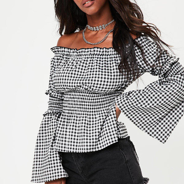 Plaid Sexy Collar Trumpet Sleeve Shirt Blouse