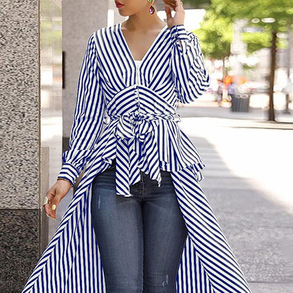 V-Neck Striped Tie Waist Dip Asymmetrical Hem Blouse