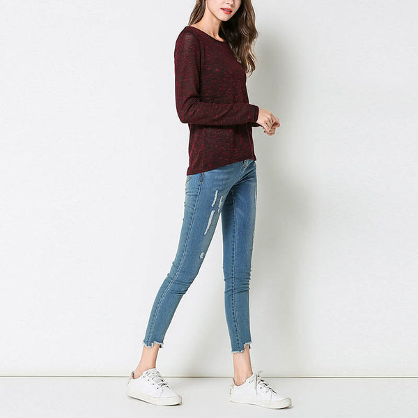 Round Neck Loose Long Sleeve Blouse
