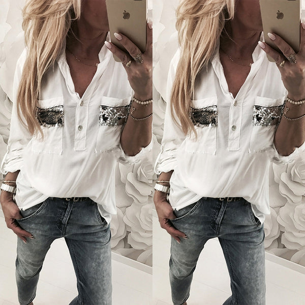 V Neck Pocket Fashion Sequins Long Sleeve Casual Blouses