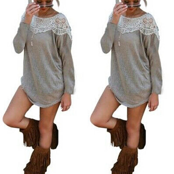 Lace Round Neck Long Sleeve Casual Blouse