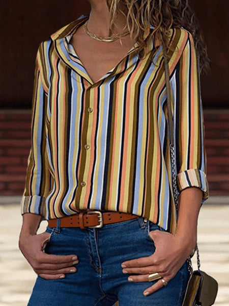 Long Sleeve Striped Printed Chiffon Blouses