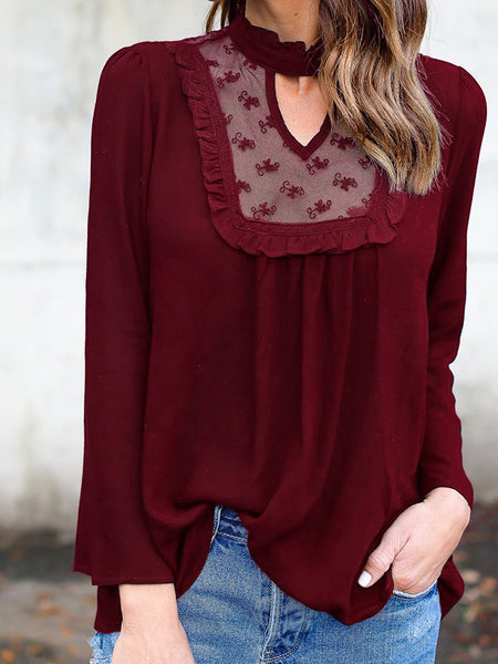 Lace-Paneled Long-Sleeved Blouses