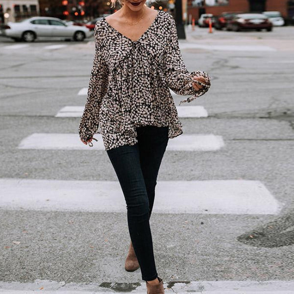 V-Neck Chiffon Long Sleeves Floral Blouses