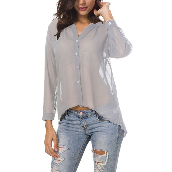 See Through V Neck Button Long Sleeve Chiffon Blouses