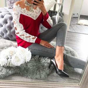 V-Neck Lace Patchwork Long Sleeve Blouse