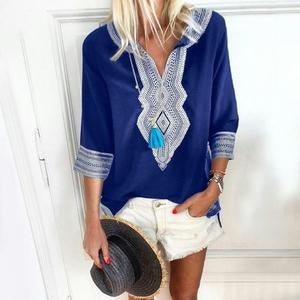 Ethnic Style V-Neck Casual Blouse