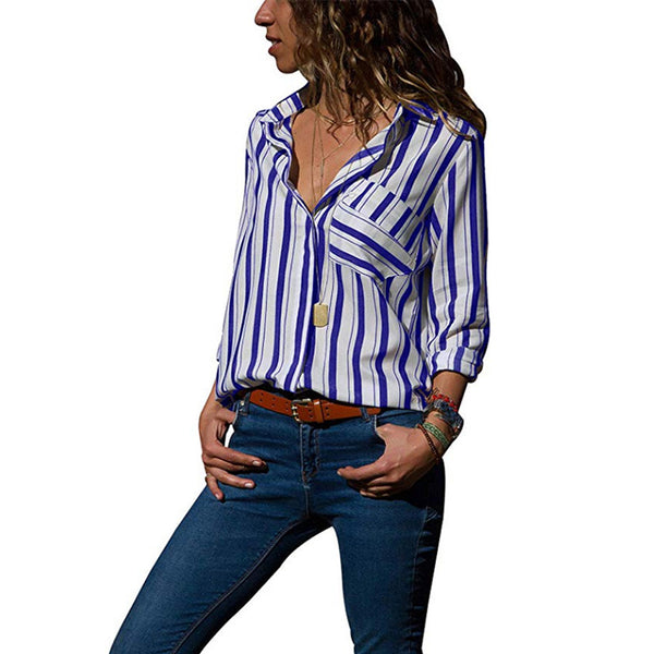 Lapel Stripes Pocket Long Sleeve Casual Blouses
