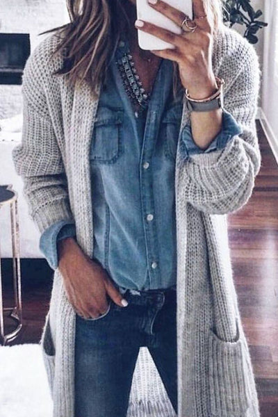 Sexy Long Sleeves Loose Plain Cardigan