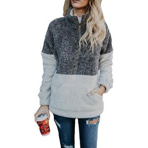 High Neck Zipper Patchwork Outerwear