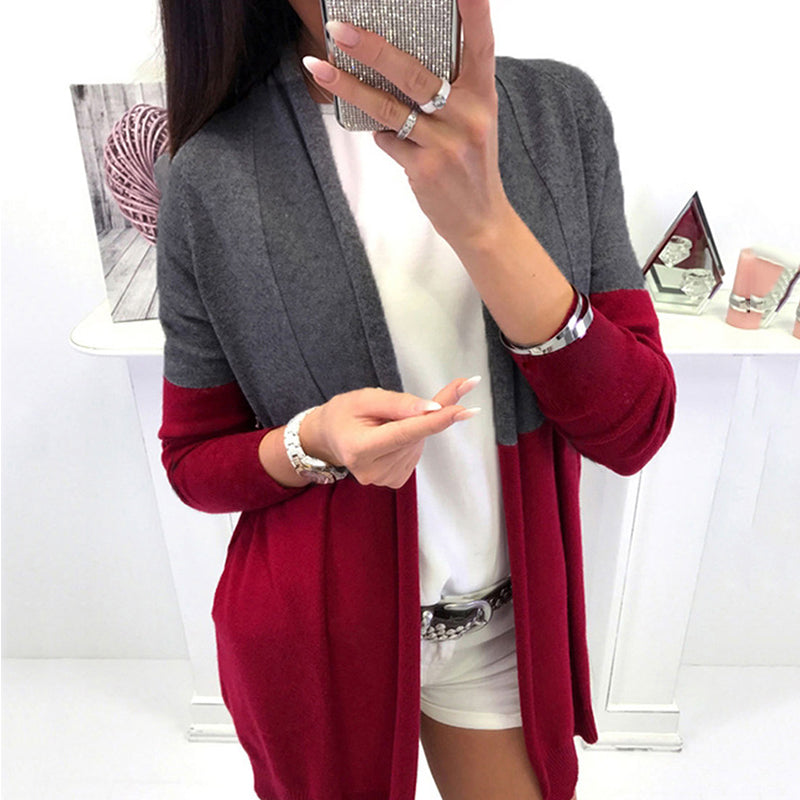 Mid-Length Women's Color Block Cardigan