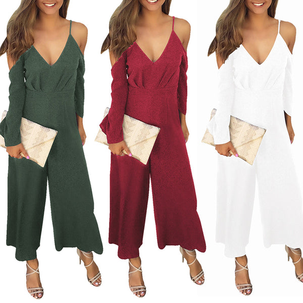 Long-Sleeved V-Neck Wide Leg Jumpsuit