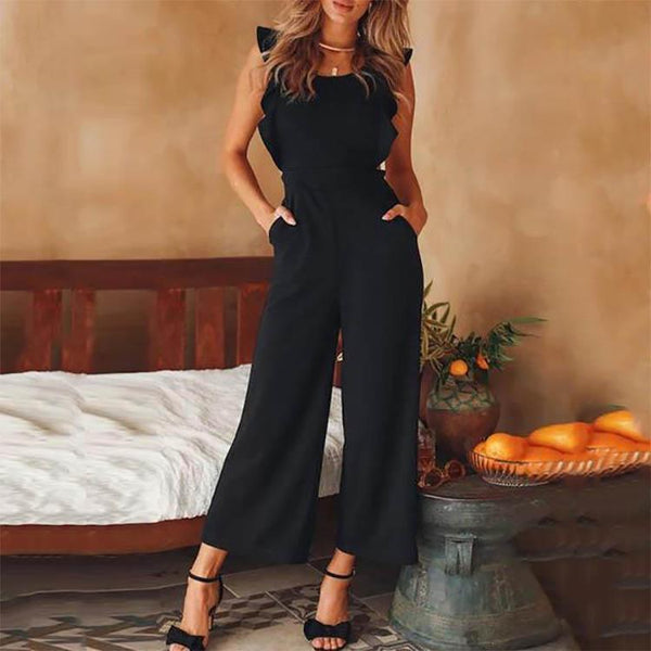 Ruffled Lace-Up Jumpsuit