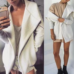 Lapel Snap Front Plain Trench Coat