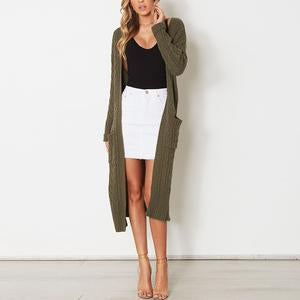 Fashion Loose Long Sleeve Pocket Knitting Cardigans