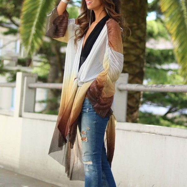 Fashion Long Sleeve Lace Up Gradient Color Casual Cardigan