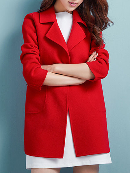 Lapel Patch Pocket Plain Woolen Coat