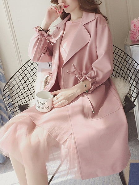 Lapel Drawstring Patch Pocket Plain Trench Coat