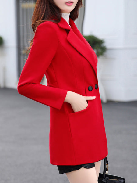 Lapel Pocket Woolen Plain Coat