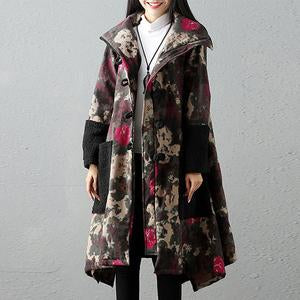 Lapel Fleece Lined Patch Pocket Tribal Printed Coat