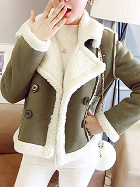 Lapel Double Breasted Patch Pocket Coat