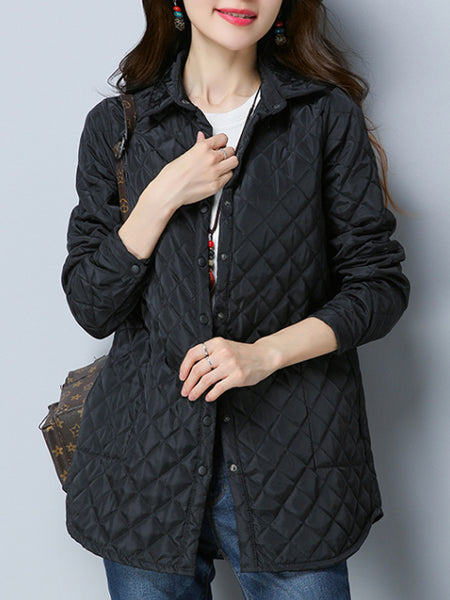Lapel Pocket Quilted Plain Coat