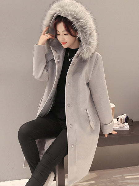 Hooded Flap Pocket Plain Longline Woolen Coat