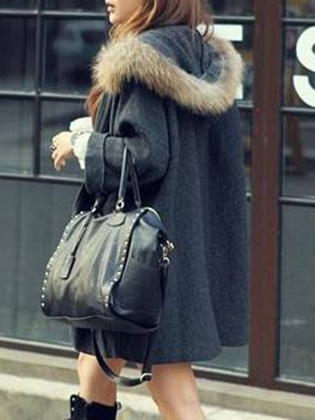 Oversized Hooded Pocket Plain Woolen Coat