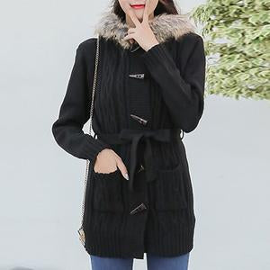 Hooded Patch Pocket Single Breasted Belt Coat