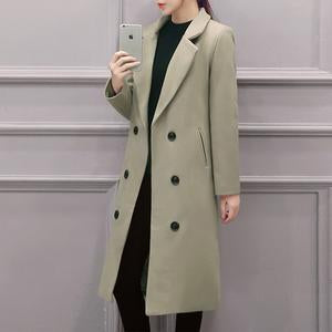 Lapel Double Breasted Pocket Plain Woolen Long Coat