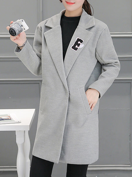 Lapel Single Button Pocket Decorative Patch Woolen Coat
